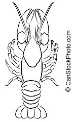 Crayfish silhouette isolated on white