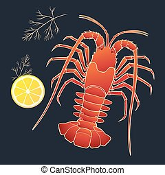 Crayfish with lemon and dill on the black background. Vector...