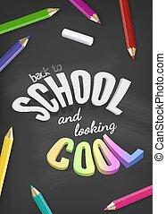 crayon, école, coloré, coloré, tableau noir, accueil, dos, illustration, craie, arrière-plan., vecteur, conception, texte