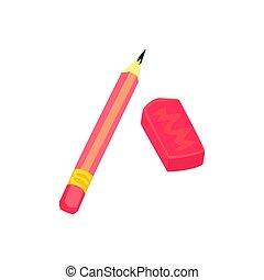 crayon, école, coloré, illustration, ou, équipement, vecteur, artistique, eraser., dessin animé, rouges