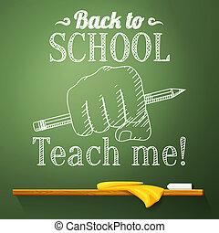 crayon, école, greeting., dos, vecteur, tableau, poing