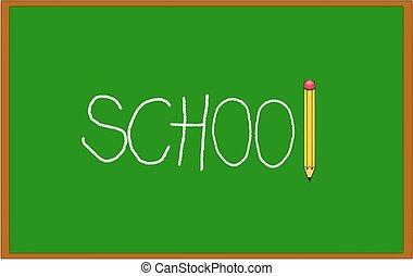 crayon, école, tableau noir, il, craie, écrit, vert