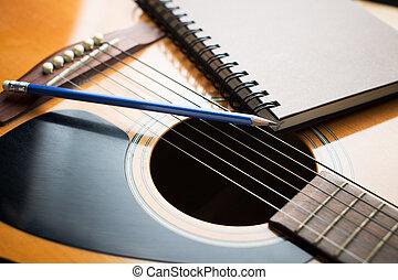 crayon, Écriture, musique, cahier, guitare