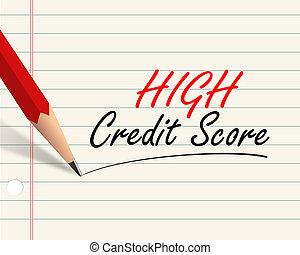 crayon, -, élevé, crédit, partition, papier