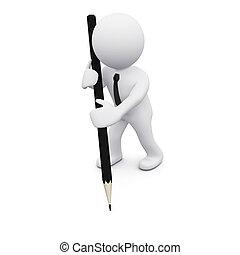 crayon, 3d, homme