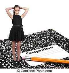 crayon, adolescent, femme, cahier