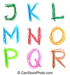 Crayon alphabet isolated over white background, Lettrs J - R
