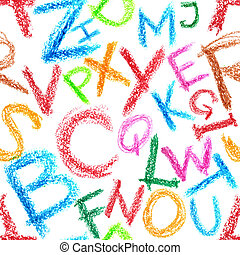 Crayon alphabet seamless - Seamless pattern - Crayon...