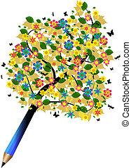 crayon, arbre