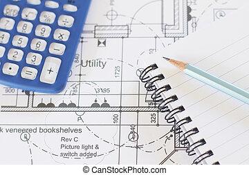 crayon, arrangé, plans, calculatrice, maison, bloc-notes