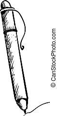 crayon, arrière-plan., blanc, illustration, dessin, vecteur