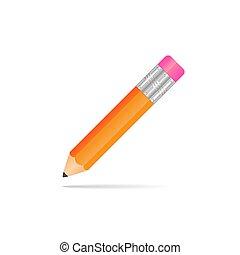 crayon, bande, jaune, caoutchouc, arrière-plan., blanc