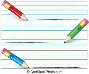 crayon, bannières, ensemble, coloré