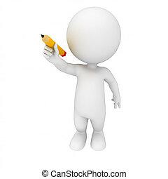 crayon, blanc, 3d, gens