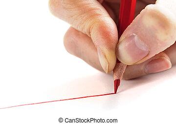 crayon, blanc rouge, fond, main