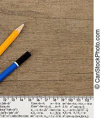 crayon, bois, fond, règle