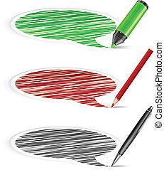 crayon, bulles, parole, &