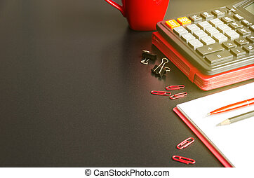 crayon, bureau, calculatrice, stylo, cahier, bureau, table