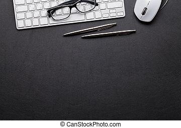 crayon, bureau, cuir, stylo, pc, bureau, table
