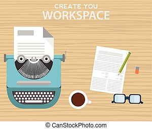 crayon, café, bois, notes, espace de travail, machine écrire, table, grande tasse
