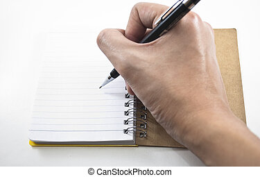 crayon, cahier, écriture main