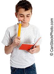 crayon, cahier, enfant
