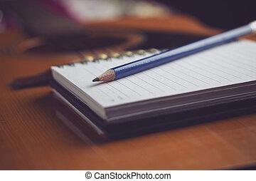 crayon, cahier, guitare, Écriture, musique