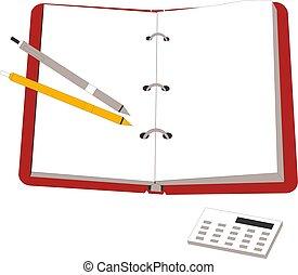 crayon, calculatrice, cahier, vecteur, illustration, ouvert