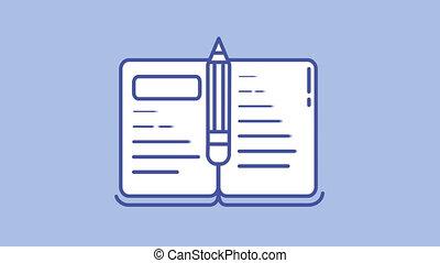 crayon, canal, ligne, alpha, icône, livre