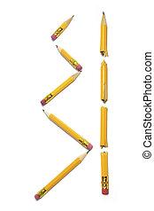 crayon cassé, morceaux