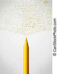 Crayon close-up with diagrams