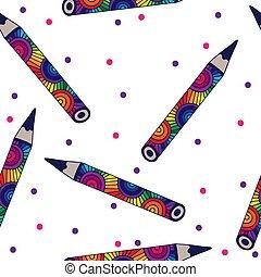 crayon, coloré, modèle, seamless, vecteur, fond, blanc