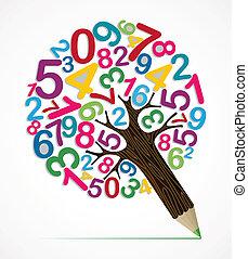 crayon, concept, arbre, nombre, variété
