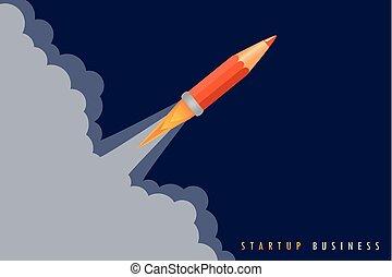 crayon, concept, business, lancement fusée, démarrage