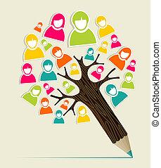 crayon, concept, diversité, arbre, gens