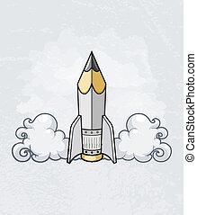crayon, concept, fusée, outillage, créatif, conception