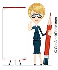 crayon, copie, écriture femme, espace