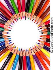 crayon couleur, blanc, isolé