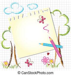 crayon couleur, coloré, dessin, fond