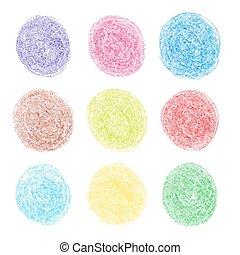 crayon couleur, rond, taches