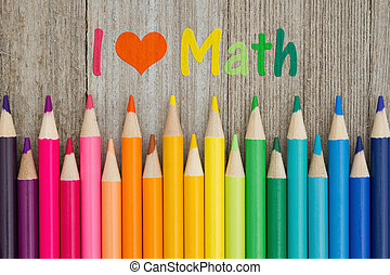 crayon, crayons, amour, message, math