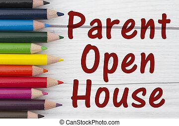 crayon, crayons, parent, texte, maison, ouvert