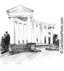 crayon, croquis, colonnade