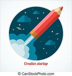 crayon, démarrage, concept, commencer, fusée