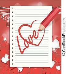crayon, dessine, coeur rouge