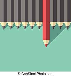 crayon, différent, unique, rouges