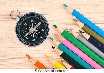 crayon, direction, concept, affaires colorent, bois, fond, compas, education, ou