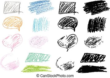 Crayon Doodles - Set of colored design elements made with...