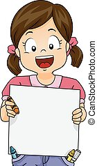 Crayon Drawing - Illustration Featuring a Girl Holding a...