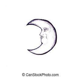 Crayon drawing of moon.  - Oryginal crayon drawing of moon.